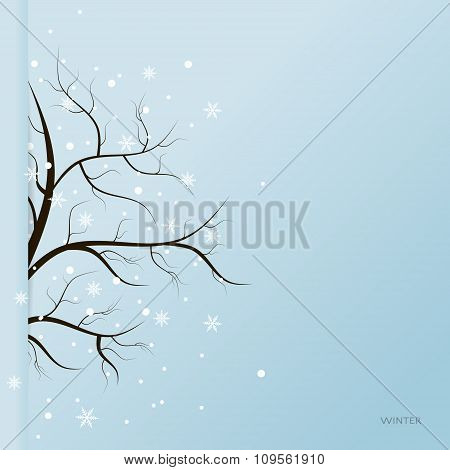 Winter tree and snow flakes