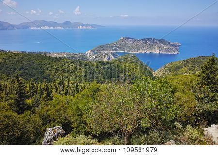 Amazing Landscape of Assos village and beautiful sea bay