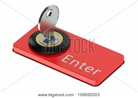 Enter Button With Key, Computer Security Concept