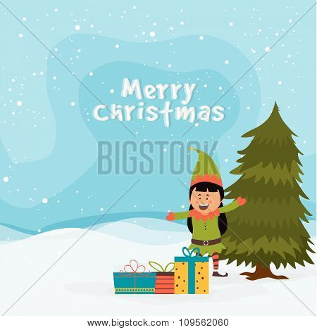 Cute little girl enjoying and celebrating with colorful gifts on winter background for Merry Christmas.