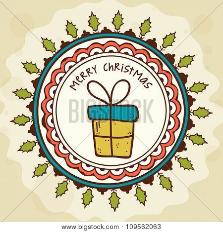 Elegant greeting card decorated with floral design and gift box for Merry Christmas celebration.