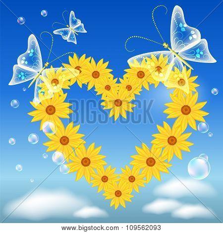 Daisy Heart And Butterflies