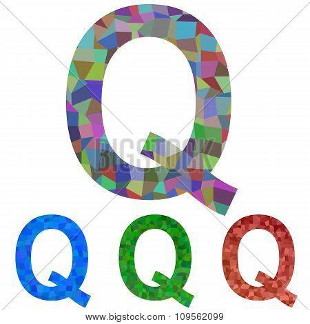 Mosaic font design - letter Q