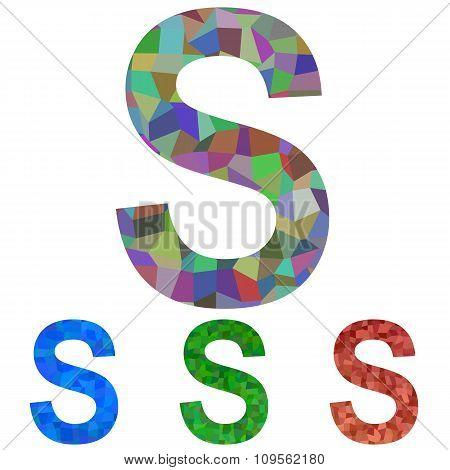 Mosaic font design - letter S