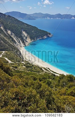 Blue waters of Myrtos beach, Kefalonia, Ionian islands
