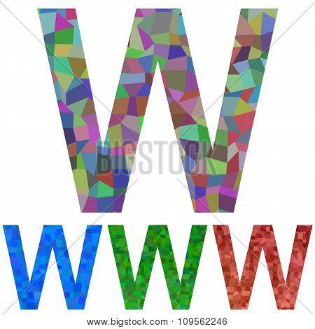 Mosaic font design - letter W