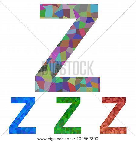 Mosaic font design - letter Z