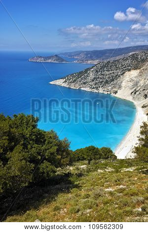 Panorama of Myrtos beach, Kefalonia, Ionian islands