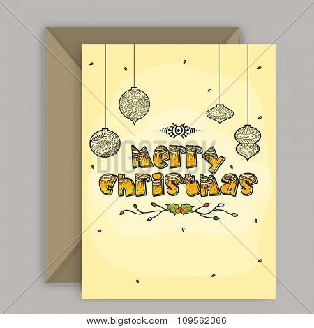 Elegant greeting card design with envelope for Merry Christmas celebration.