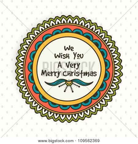 Beautiful floral design decorated greeting card for Merry Christmas celebration.