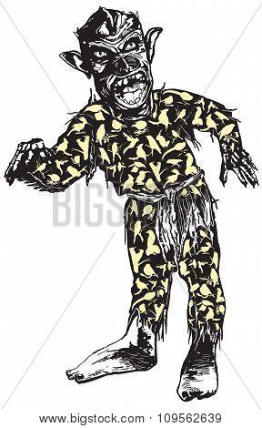 Zombie In Pajamas, Vector Illustration.