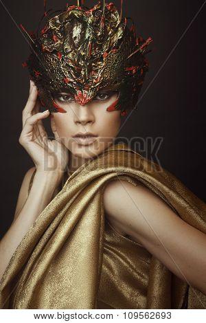 Woman in creative head wear