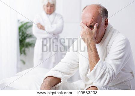 Despair Old Man In Bedroom