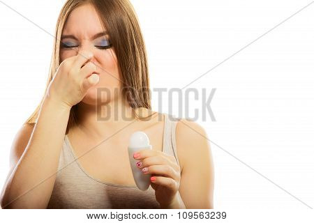 Girl Holding Stick Deodorant In Hand
