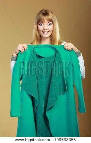 Fashionable Woman Showing Green Coat