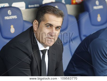 BARCELONA - NOV, 1: Jose Ramon Sandoval manager of Granada CF during a Spanish League match against RCD Espanyol at the Power8 stadium on November 1 2015 in Barcelona Spain