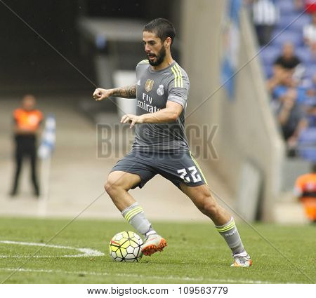 BARCELONA - SEPT, 12: Isco Alarcon of Real Madrid during a Spanish League match against RCD Espanyol at the Power8 stadium on September 12 2015 in Barcelona Spain