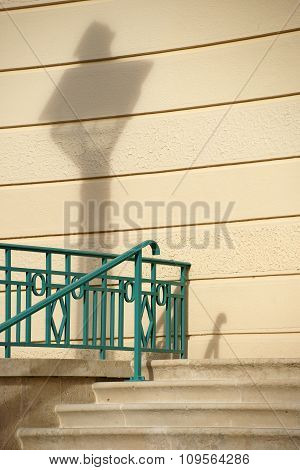 Bannister with lantern shadow