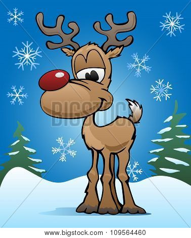 Cute Christmas Holiday Red Nose Reindeer Illustration