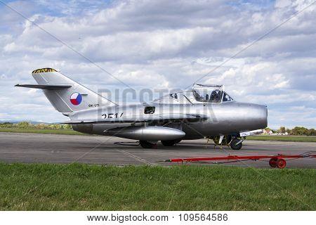Hradec Kralove, Czech Republic - September 5: Pilot Of Jet Fighter Aircraft Mikoyan-gurevich Mig-15