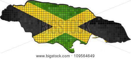 Jamaica Map With Flag Inside.eps