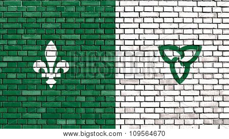 Flag Of Franco-ontarian Painted On Brick Wall