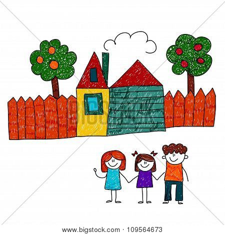 Vector image of happy family with house and garden