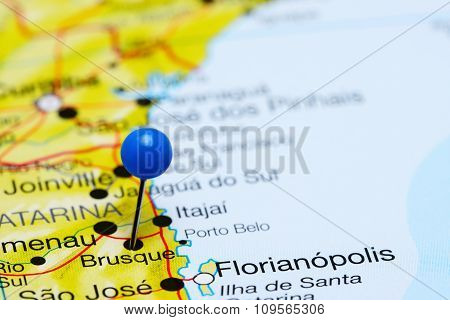 Brusque pinned on a map of Brazil