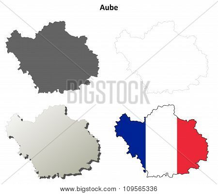 Aube, Champagne-Ardenne outline map set