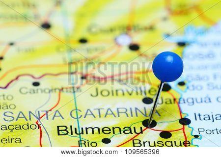 Blumenau pinned on a map of Brazil