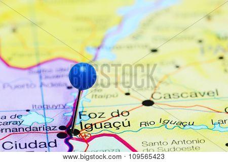 Foz do Iguacu pinned on a map of Brazil