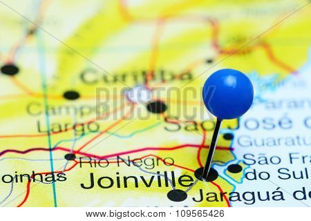 Joinville pinned on a map of Brazil