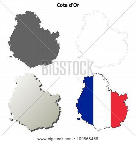 Cote d'Or, Burgundy outline map set