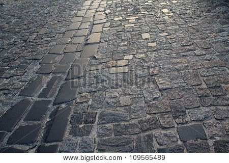 Urban Stone Paving Stones. Backgrounds And Textures