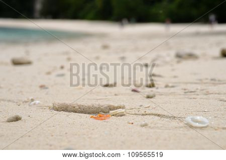 Coral sand on the Koh Hong Island beach in Thailand with small shells and corals