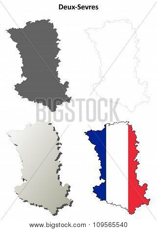 Deux-Sevres, Poitou-Charentes outline map set