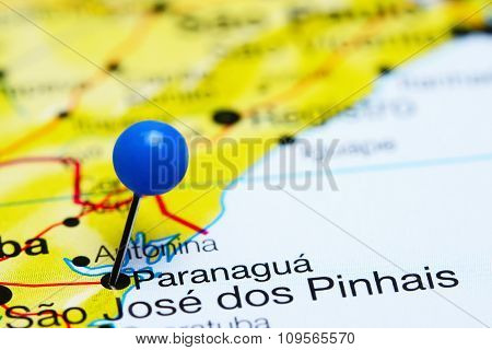 Paranagua pinned on a map of Brazil
