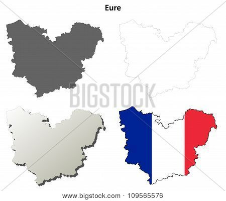 Eure, Upper Normandy outline map set