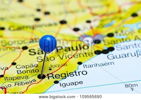 Registro pinned on a map of Brazil