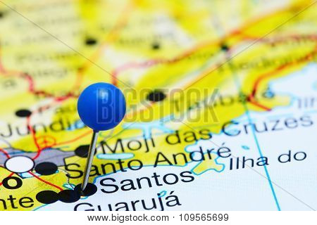 Santos pinned on a map of Brazil