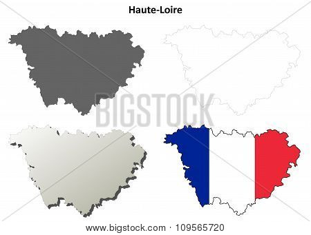 Haute-Loire, Auvergne outline map set