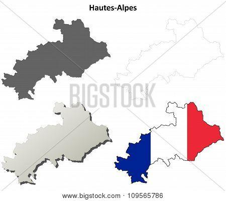 Hautes-Alpes, Provence outline map set