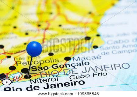 Niteroi pinned on a map of Brazil