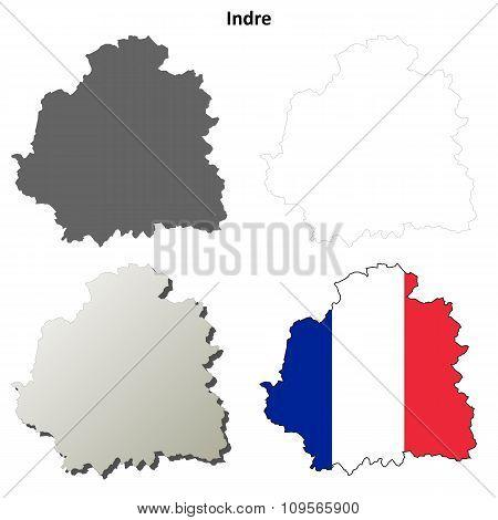 Indre, Centre outline map set