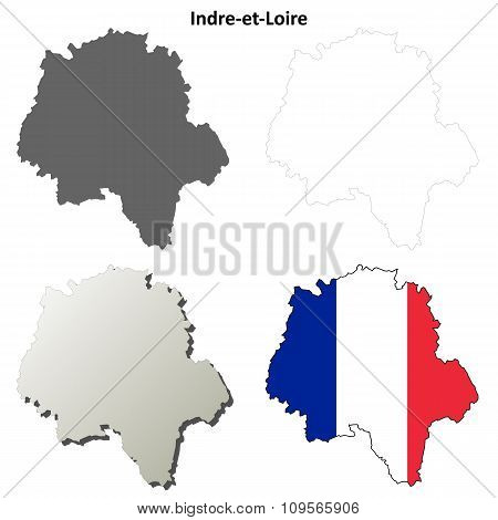 Indre-et-Loire, Centre outline map set
