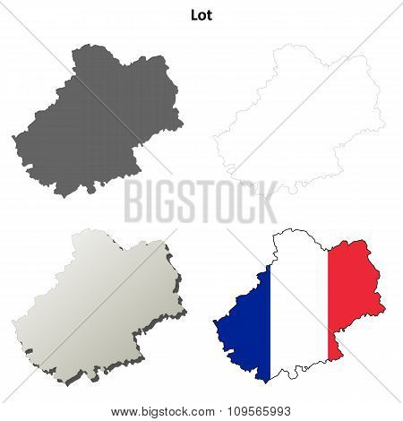 Lot, Midi-Pyrenees outline map set