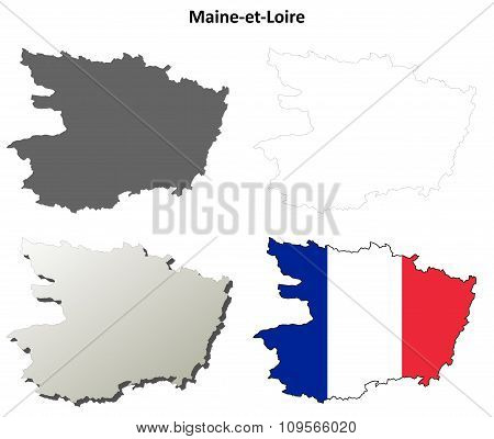 Maine-et-Loire, Pays de la Loire outline map set