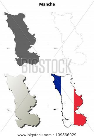 Manche, Lower Normandy outline map set