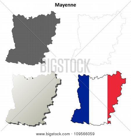Mayenne, Pays de la Loire outline map set