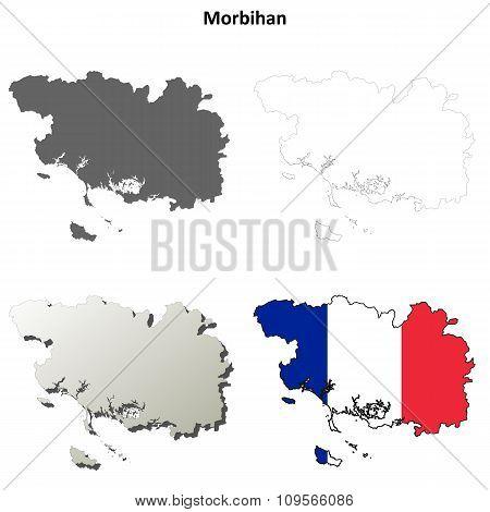 Morbihan, Brittany outline map set